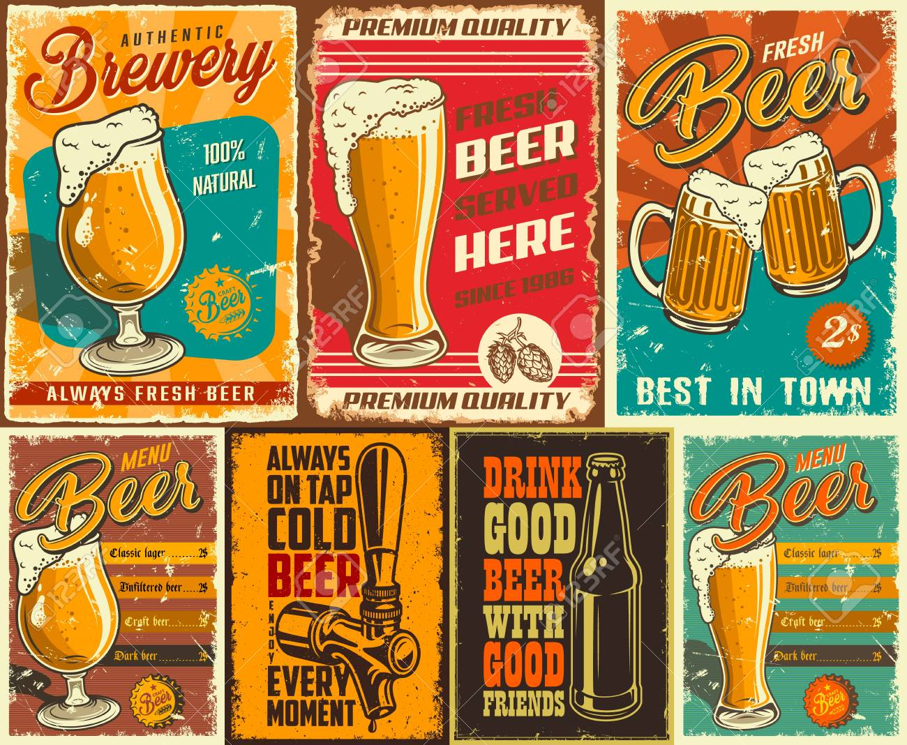 Set of beer poster in vintage style with grunge textures and beer objects. Vector illustration. - 98713879