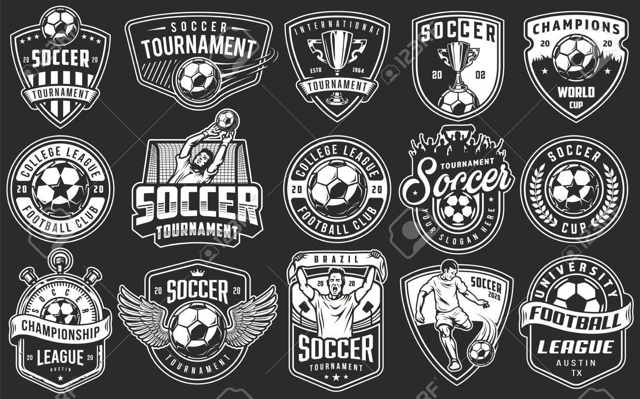 Set of soccer emblems in monochrome style. Vector illustration - 99964358