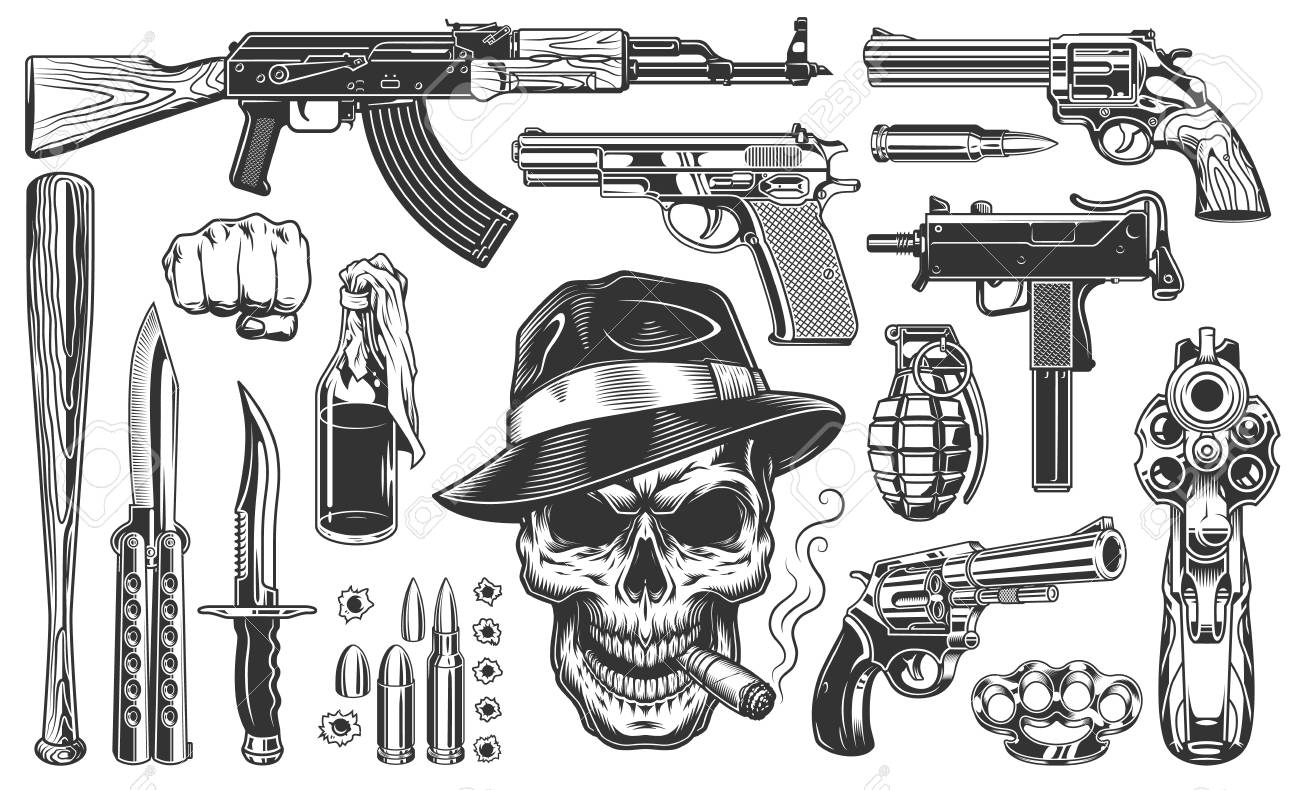 Mafia and gangsters set of monochrome vintage objects. Vector illustration - 101064462