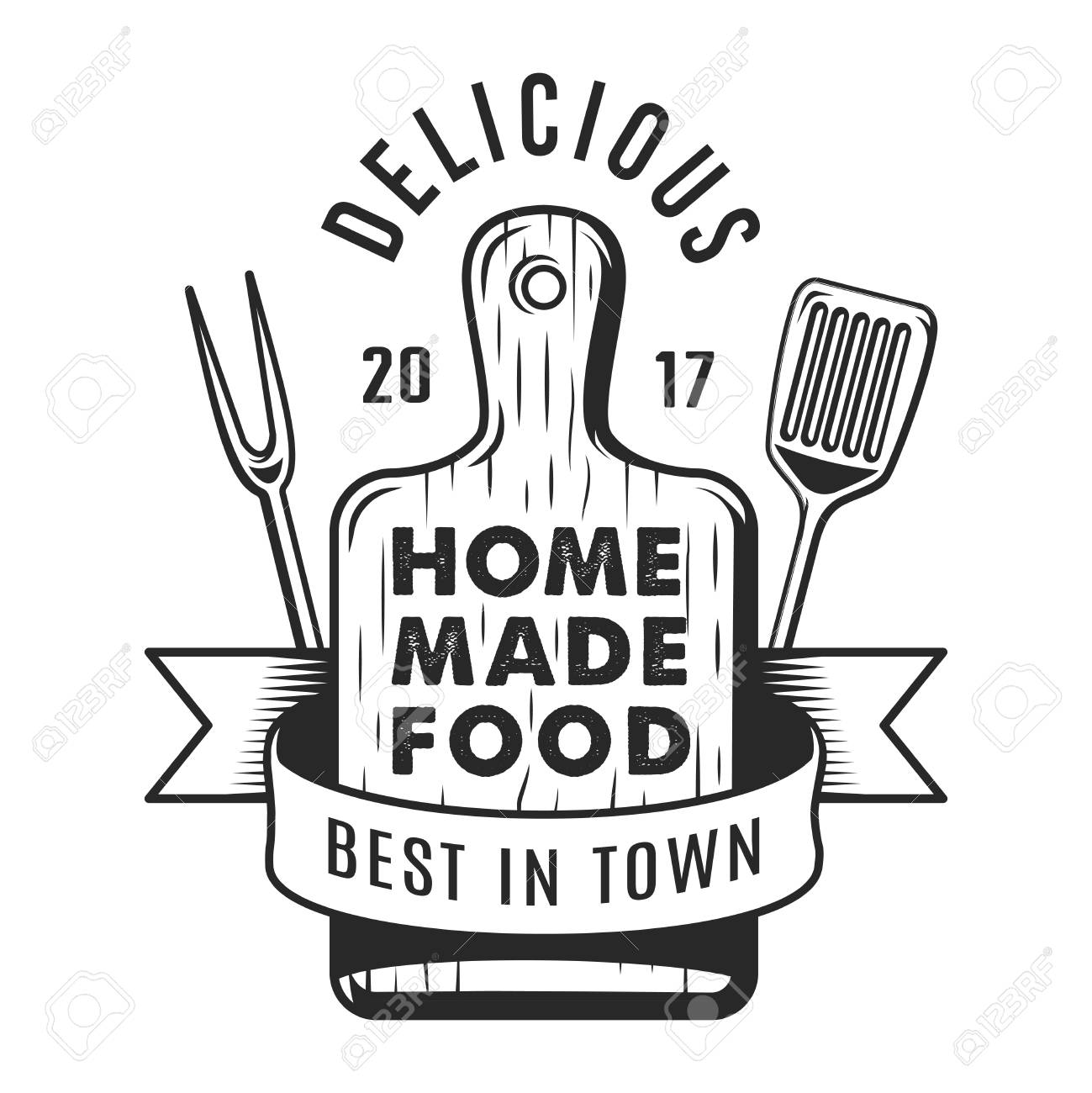 Vintage kitchen utensil monochrome emblem - 105266088