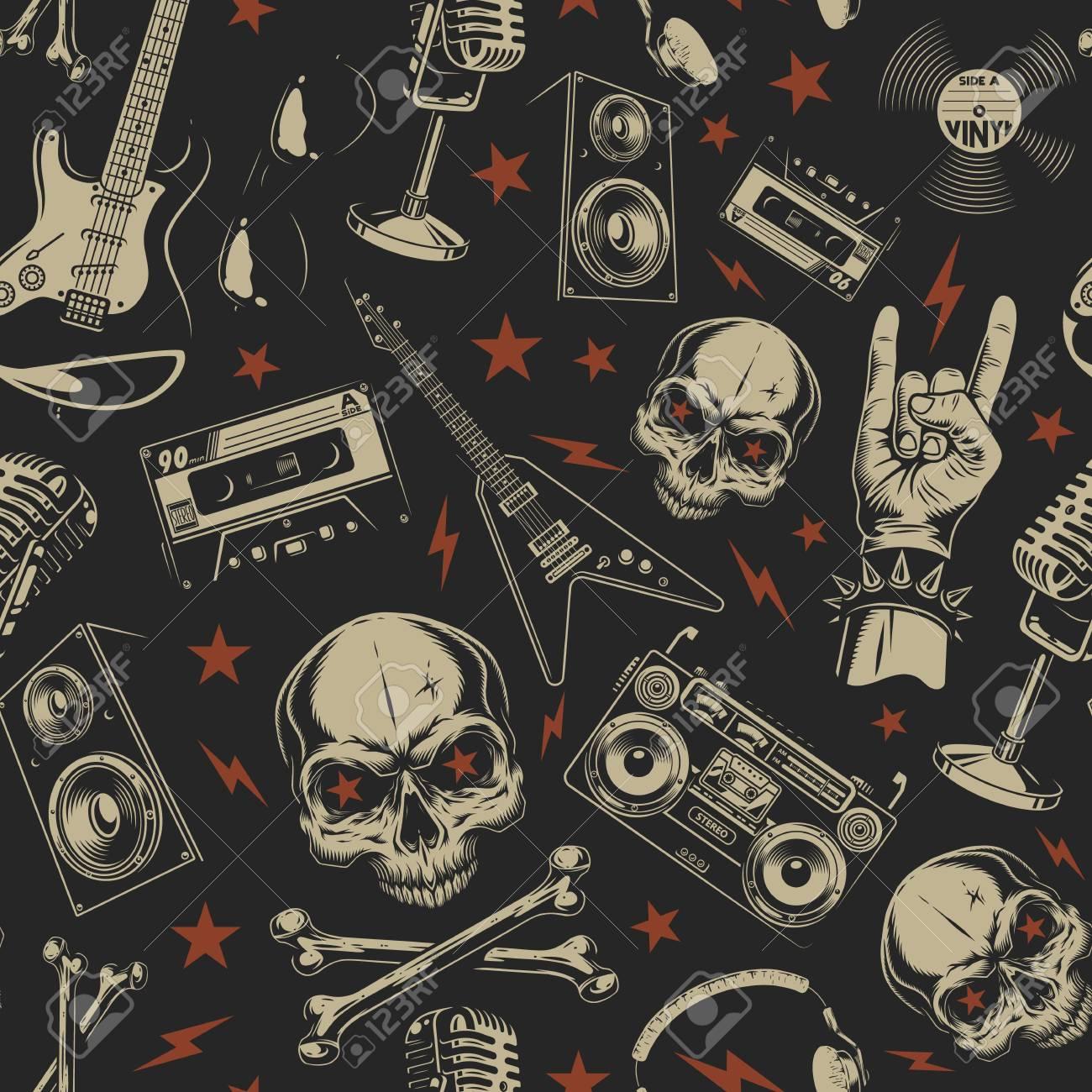 Grunge seamless pattern with skulls - 106054902
