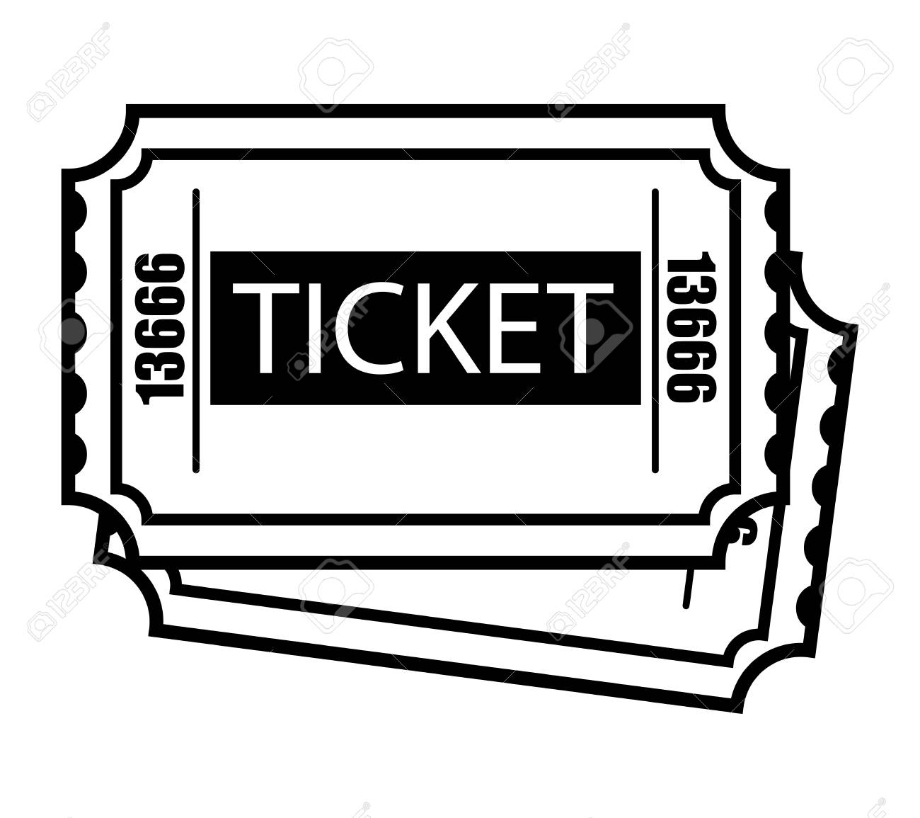 Vintage Monochrome Two Cinema Tickets Template Royalty Free Cliparts