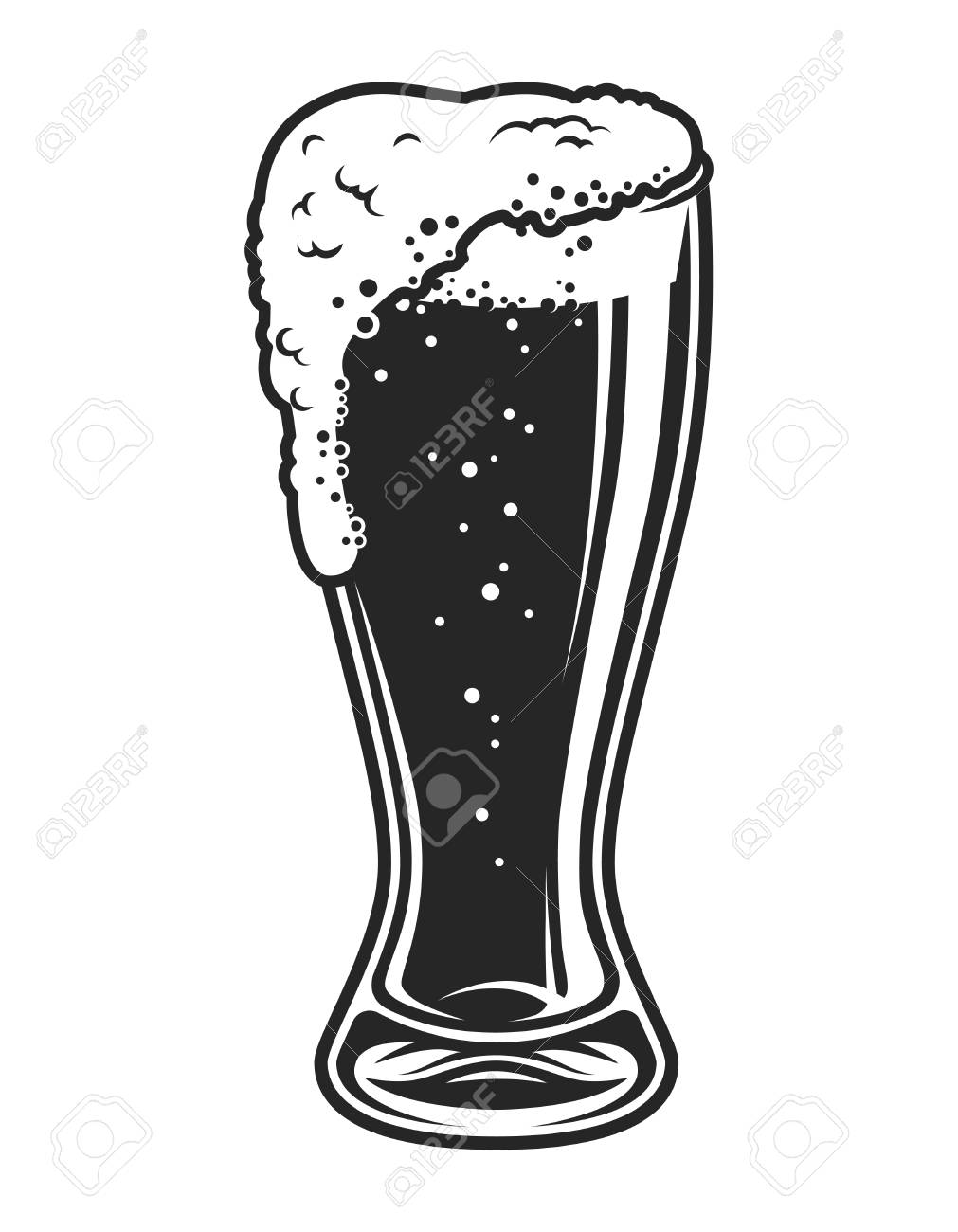 Vector template beer glass. Vector illustration royalty free.