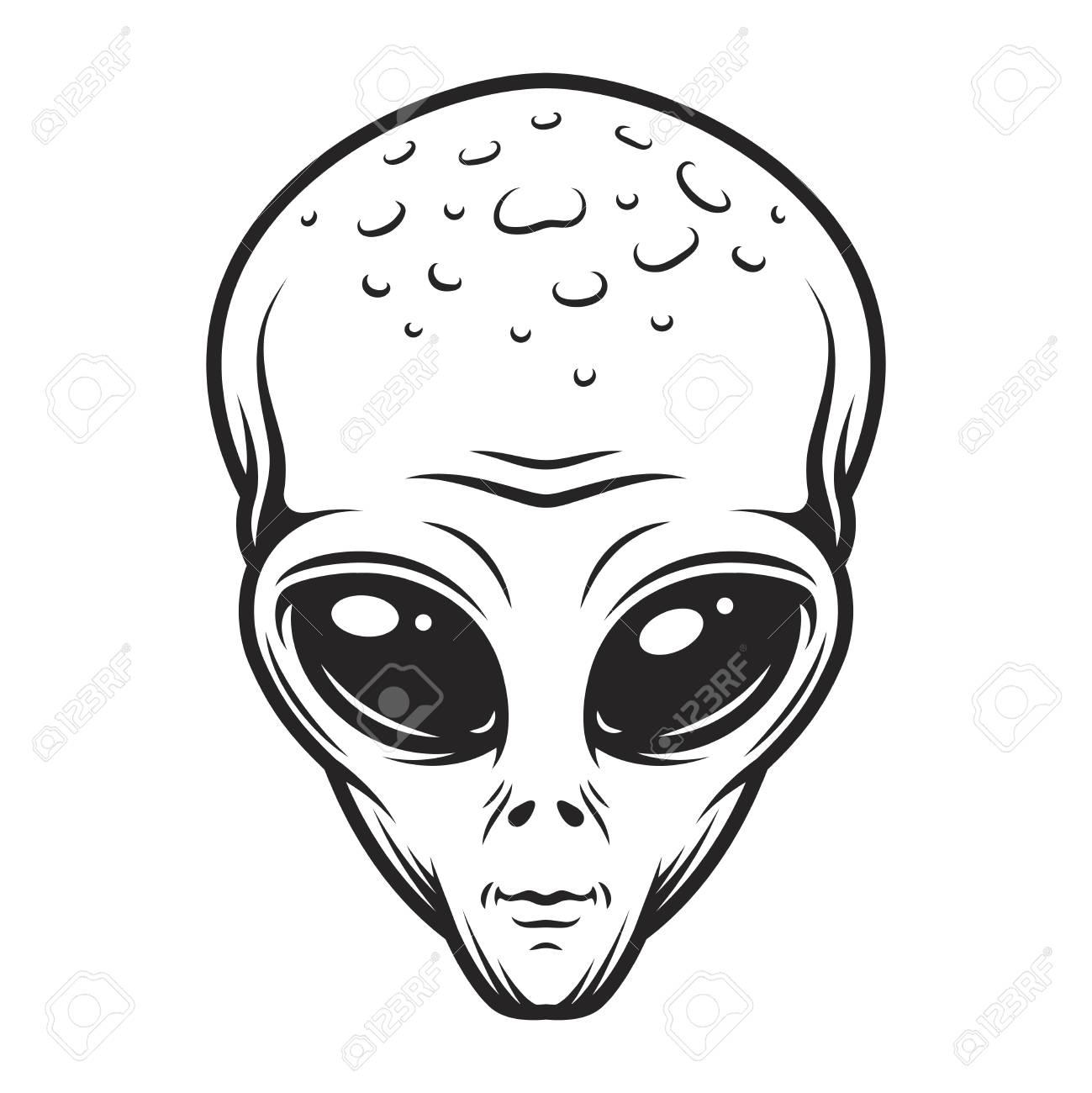 Vintage monochrome alien face concept - 104069969