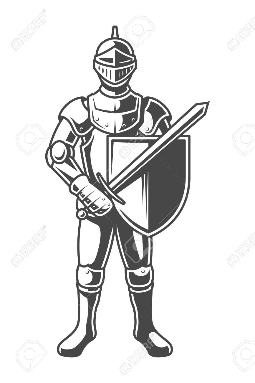 Vintage monochrome brave knight - 105265999