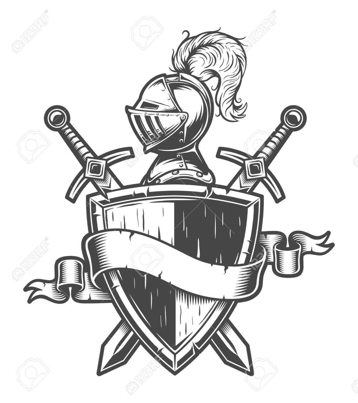 Vintage medieval knight emblem - 105268790