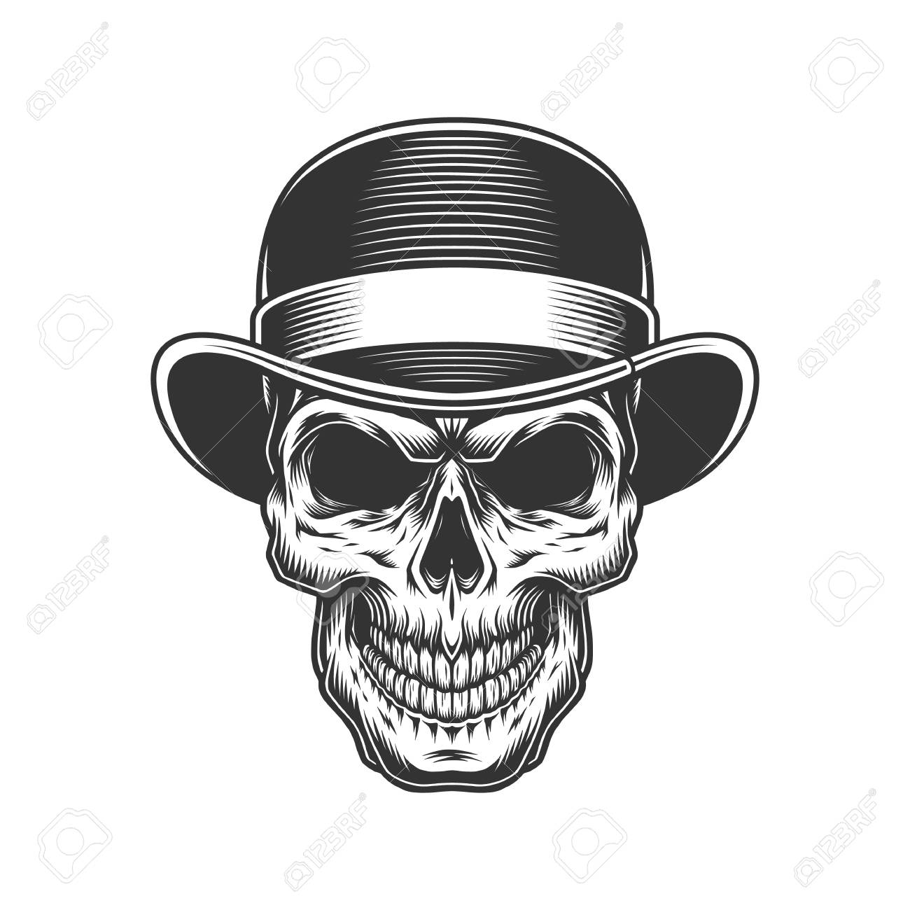 1fd05b9a98a28 skull in the bowler hat. Vector vintage illustration Stock Vector -  105163554