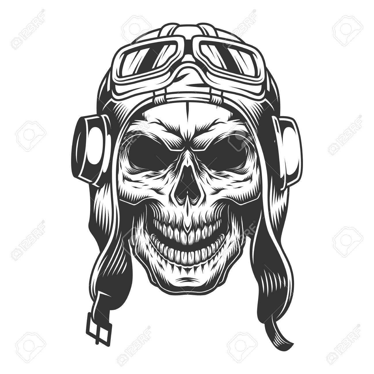 Skull in the pilot helmet. Vintage vector illlustration - 105163558