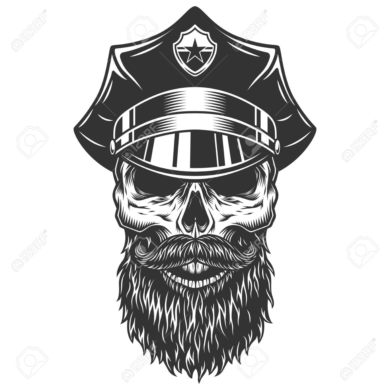 skull in the policeman hat royalty free cliparts vectors and stock
