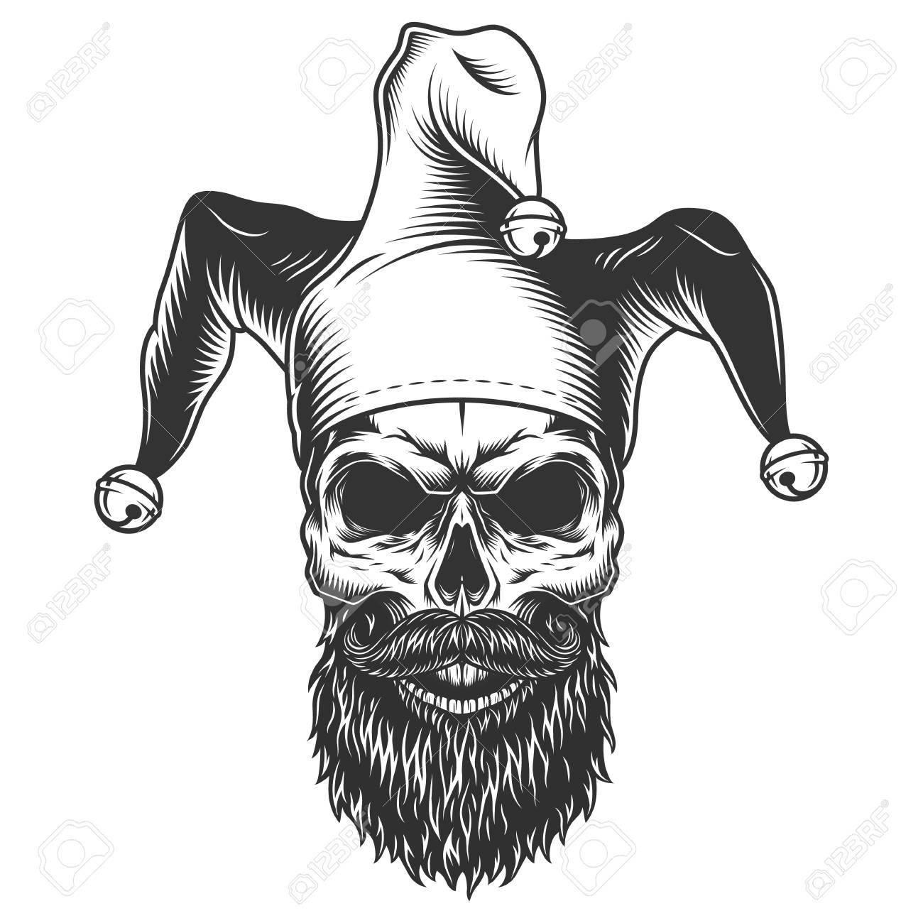 Skull in the jester hat - 105724782