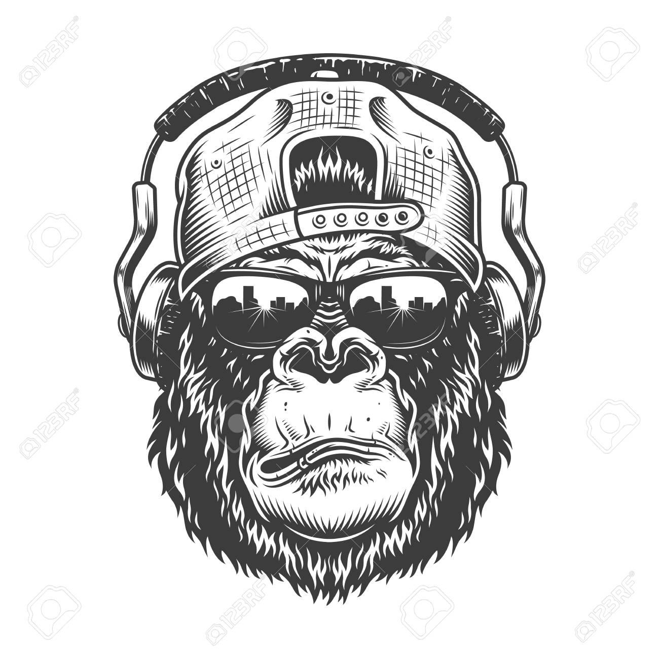 Gorilla head in monochrome style - 106926841