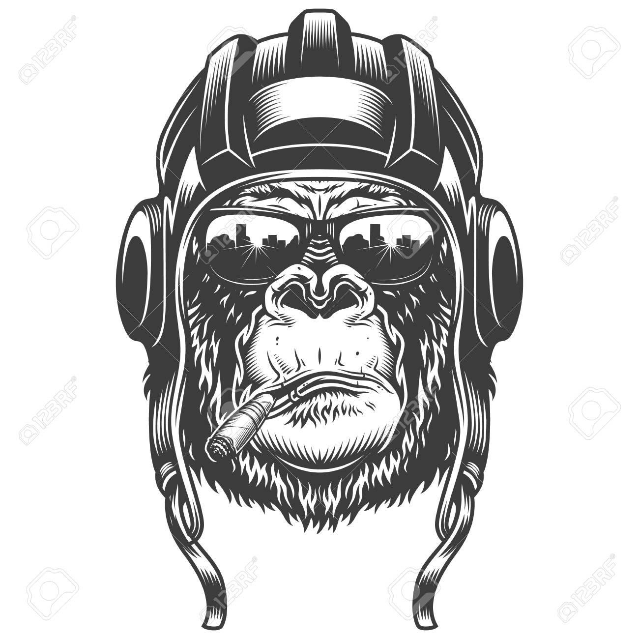 Gorilla head in monochrome style - 106926847