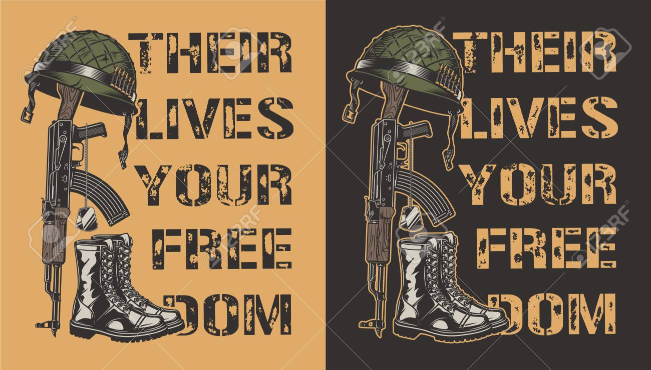 Army motivational poster with gun, helmet and boot. Vector illustration - 110167970