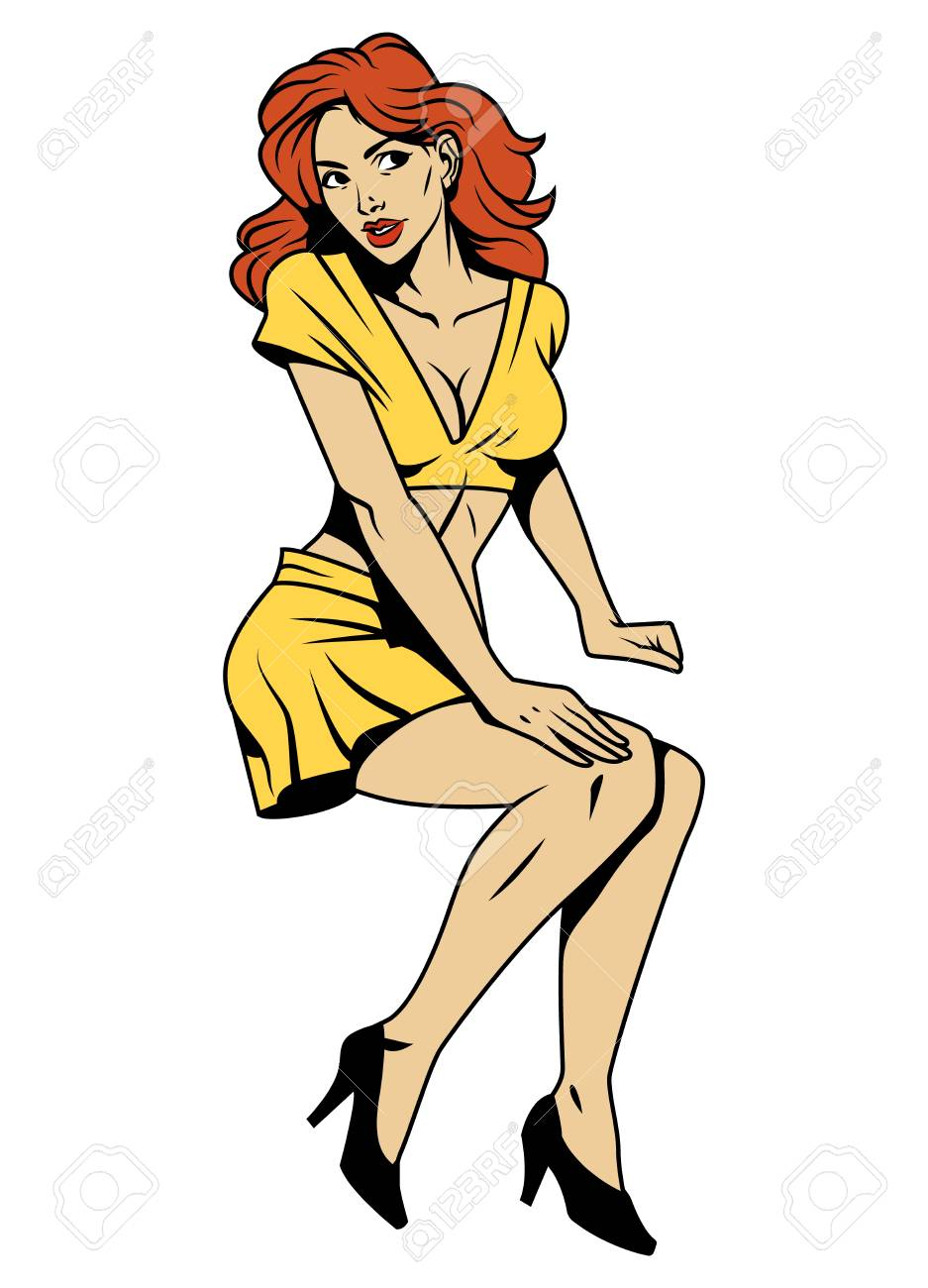 Vintage attractive pin up girl with red hair wearing yellow blouse skirt and black shoes isolated vector illustration - 108644062