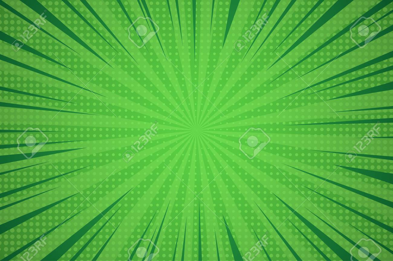 Comic dynamic green background with radial beams and dotted humor effects vector illustration - 108693395