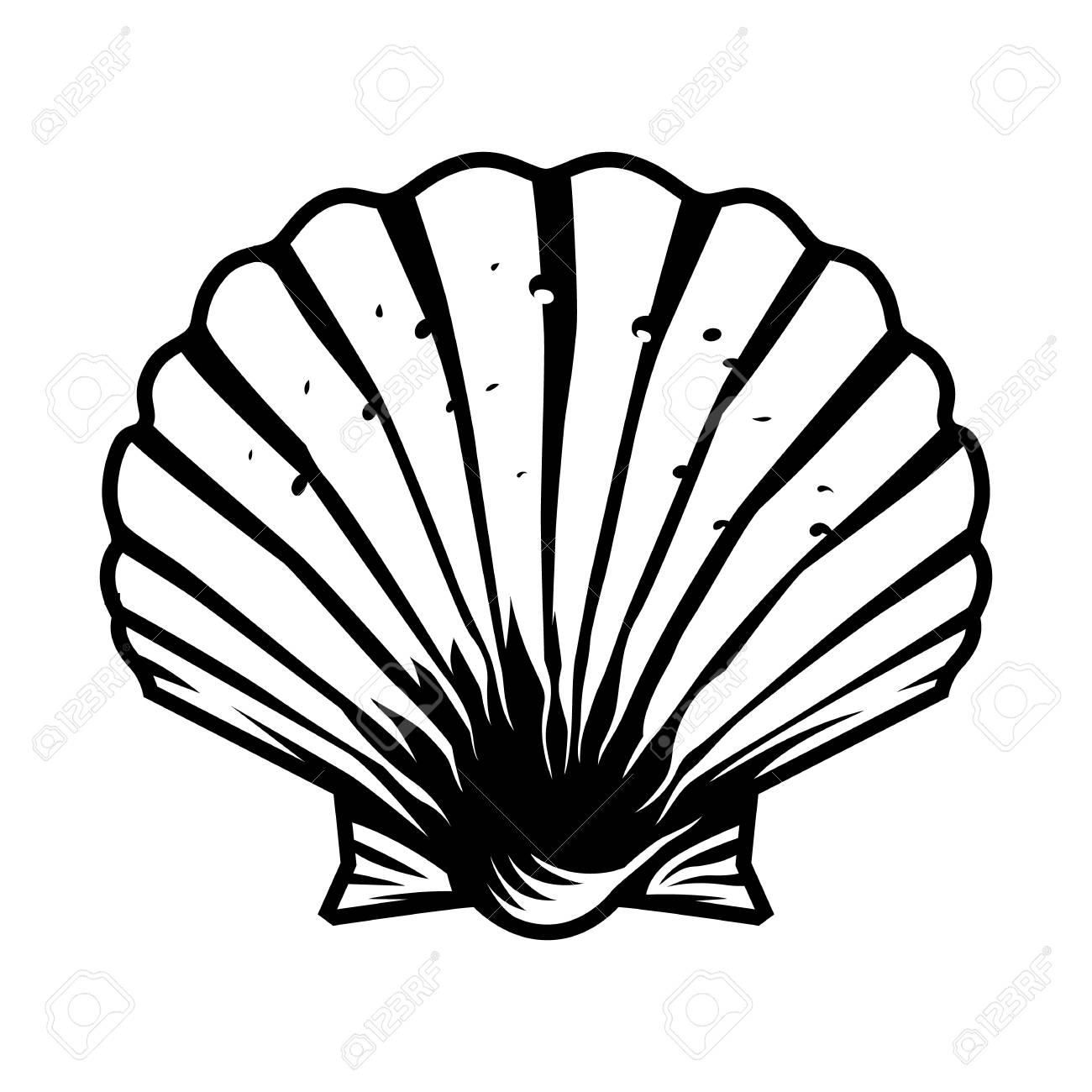 Vintage monochrome scallop seashell template isolated vector illustration - 109849248