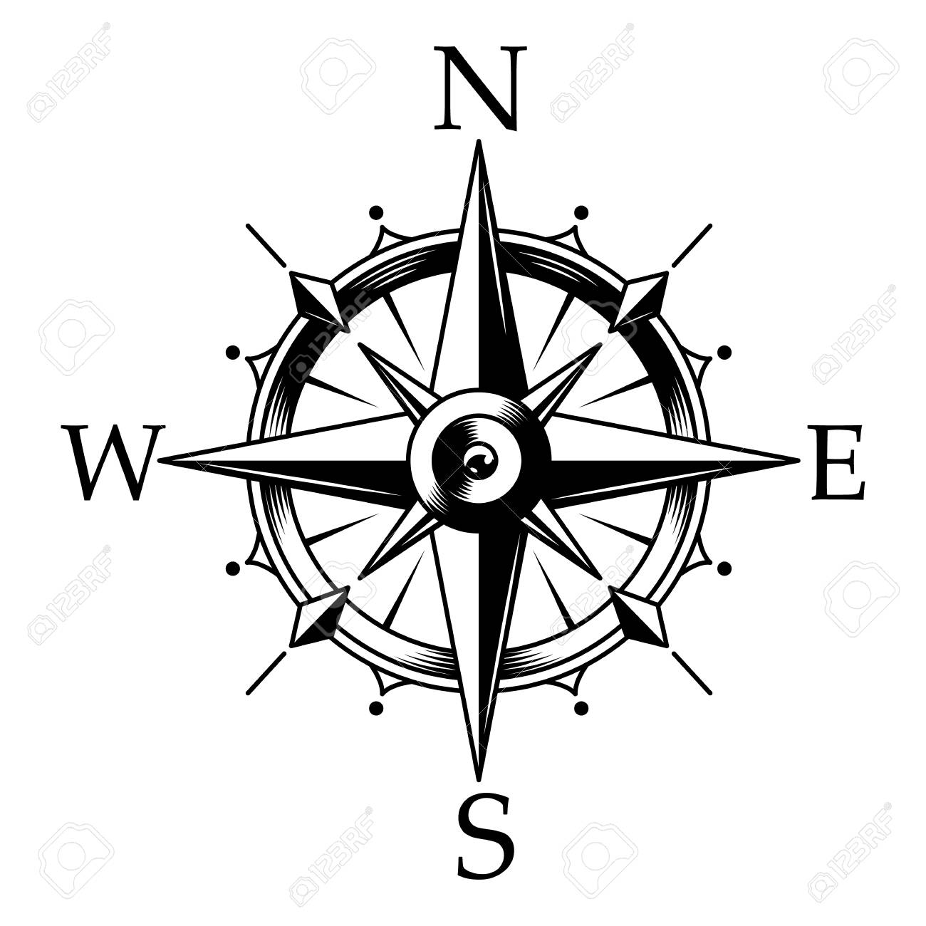 Nautical compass and wind rose concept in vintage monochrome style isolated vector illustration - 109849257