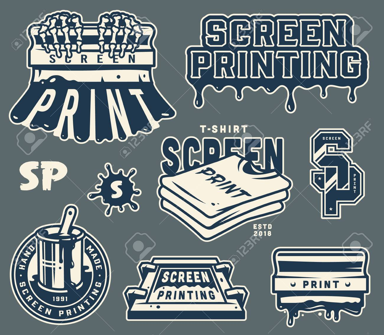 Vintage light screen printing elements set with squeegee shirts silkscreen brush in bucket label letterings isolated vector illustration - 109849393