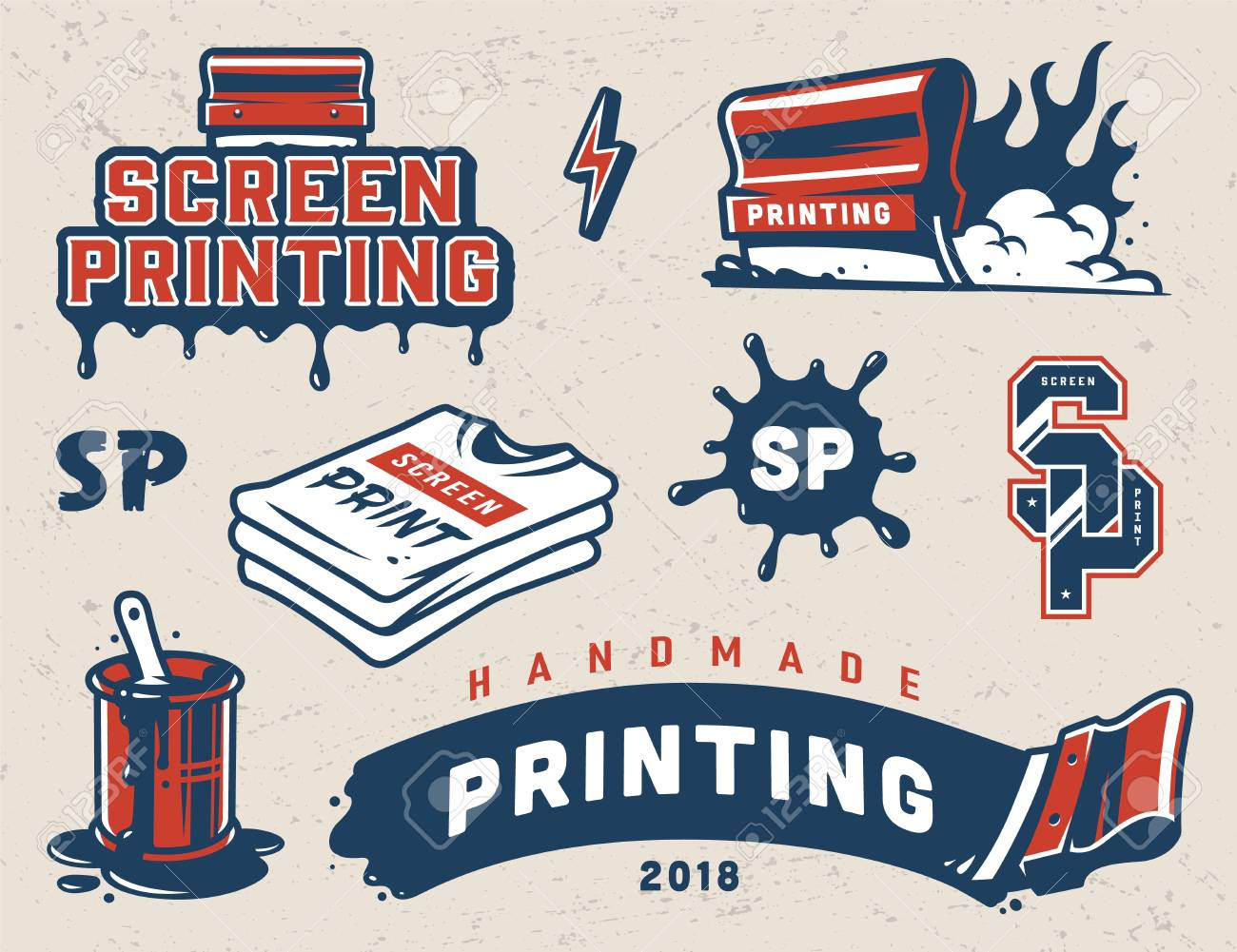 Vintage serigraphy colorful elements collection with industrial squeegees paint splashes shirts letterings isolated vector illustration - 109849398