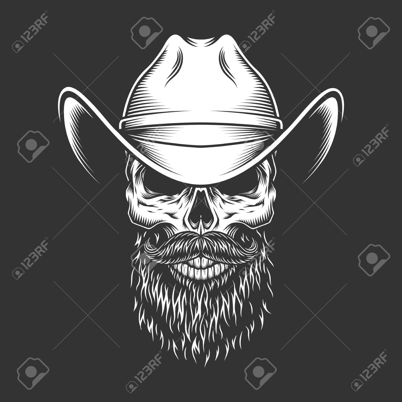 2187ac794a413 Monochrome skull in cowboy hat with beard and mustache in vintage style  isolated vector illustration Stock