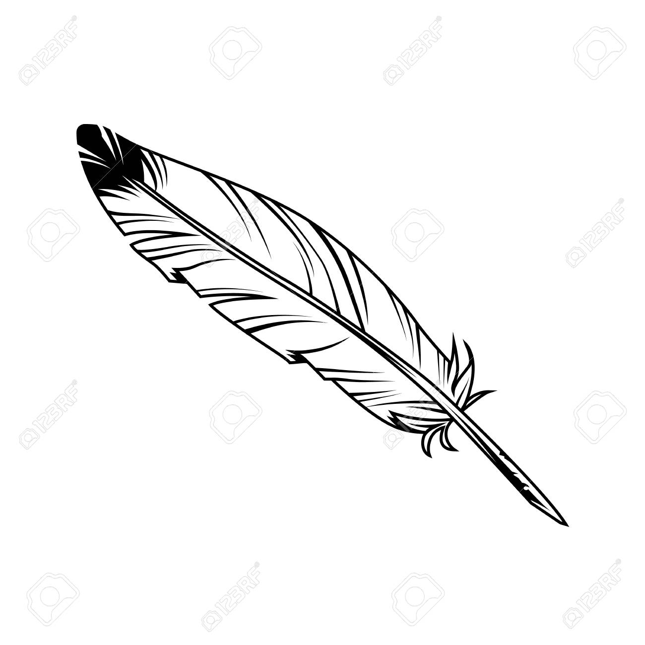 Vintage monochrome feather pen with ink on white background isolated vector illustration - 110864864