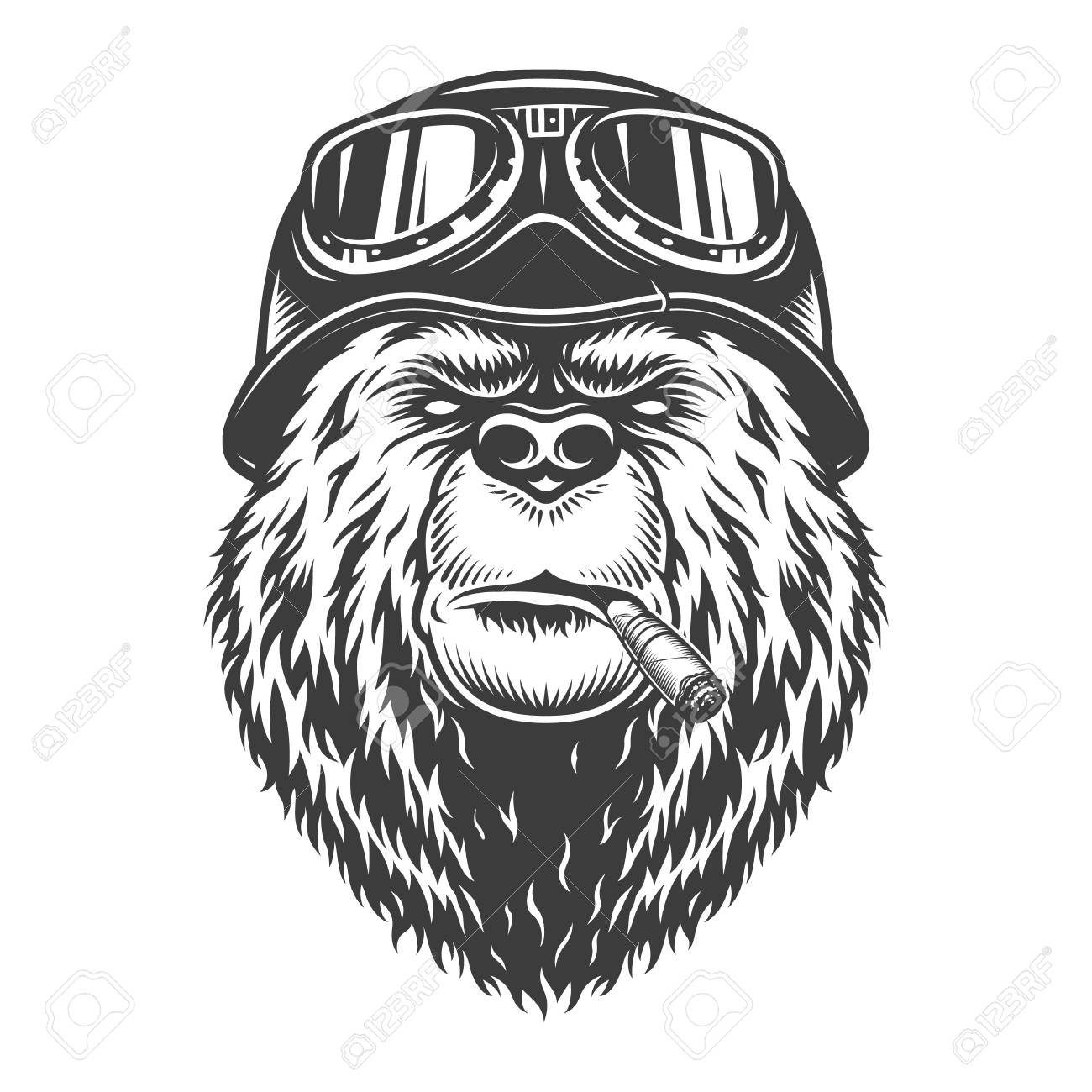 Vintage monochrome motorcyclist bear head smoking cigar and wearing motorcycle helmet and goggles isolated vector illustration - 113447839