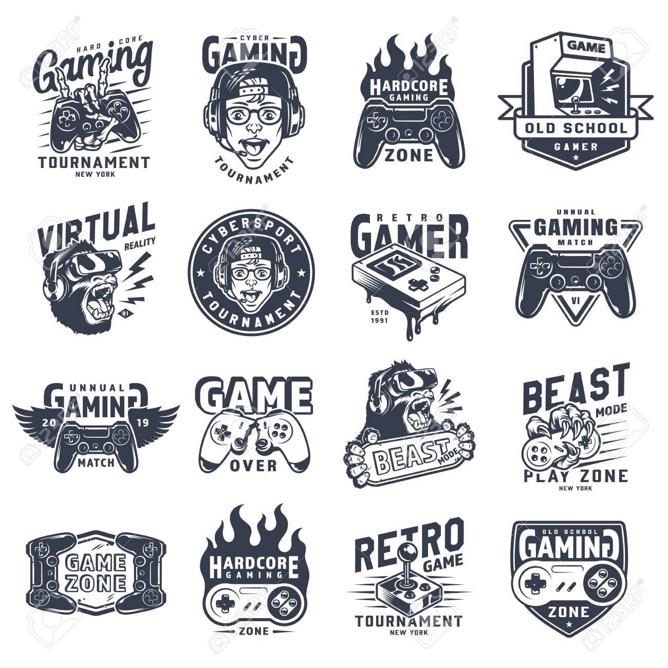 Vintage monochrome gaming emblems set with inscriptions videogame equipment devices and gadgets isolated vector illustration - 115207045