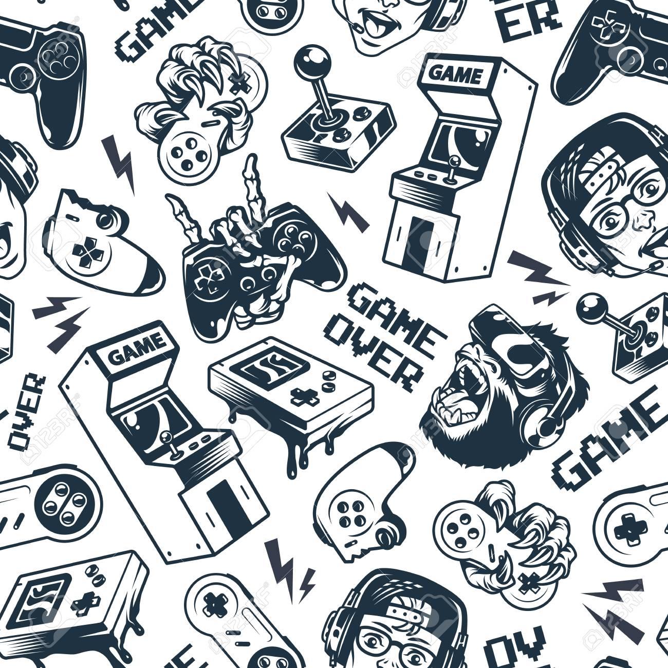 Vintage gaming seamless pattern with joysticks gamepad gorilla in virtual reality headset broken gamepad retro arcade game machine pocket console vector illustration - 115207072