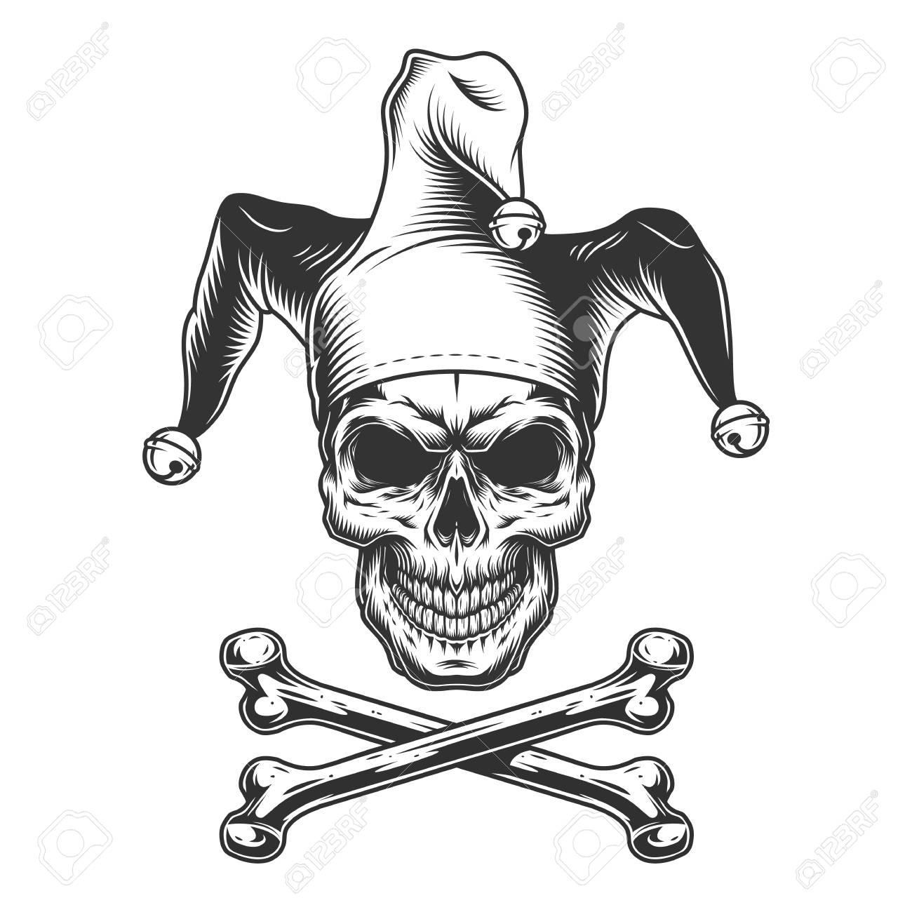 Vintage monochrome jester skull with crossbones isolated vector illustration - 115207247