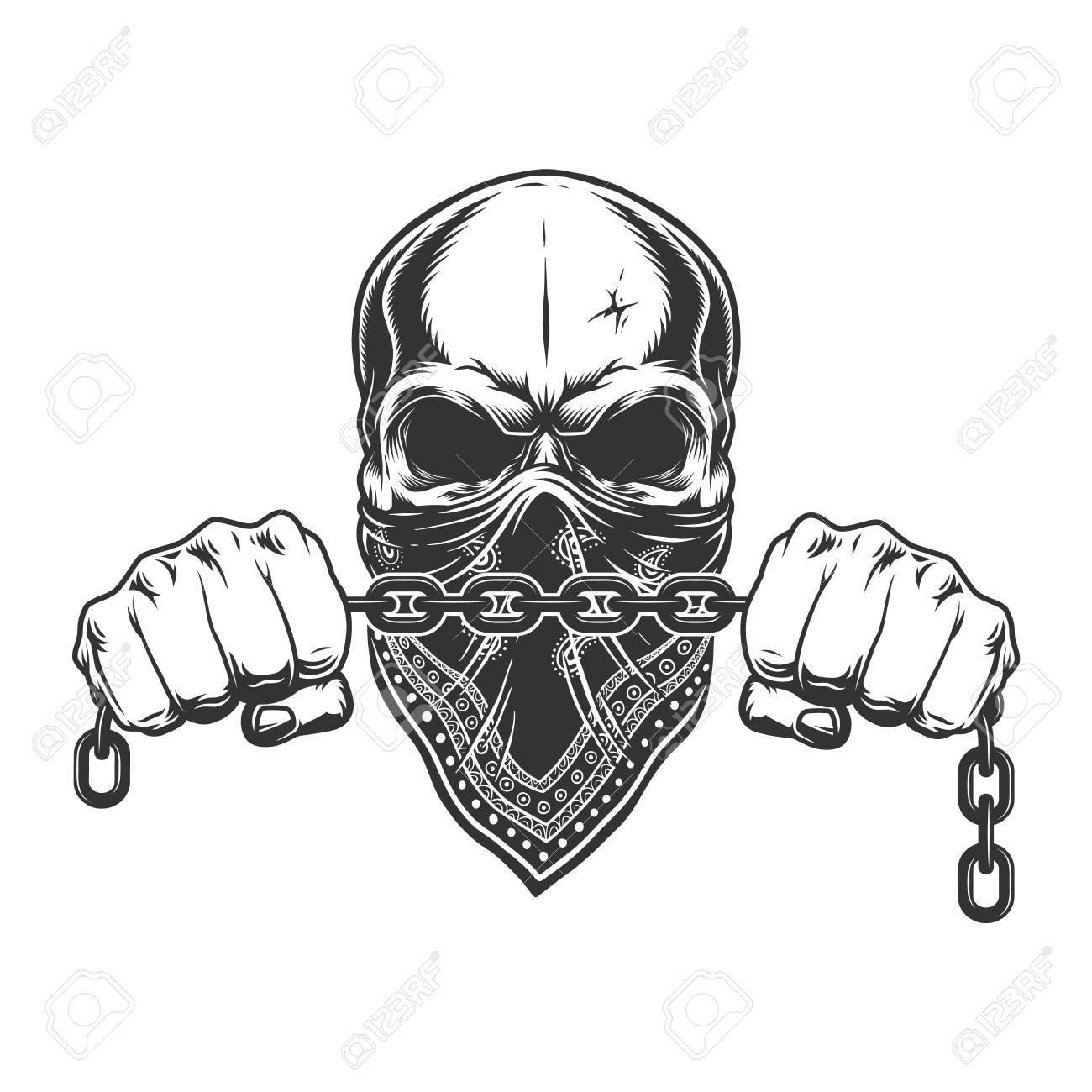 Vintage criminal concept with skull in bandana on face and male hands holding chain isolated vector illustration - 115207412