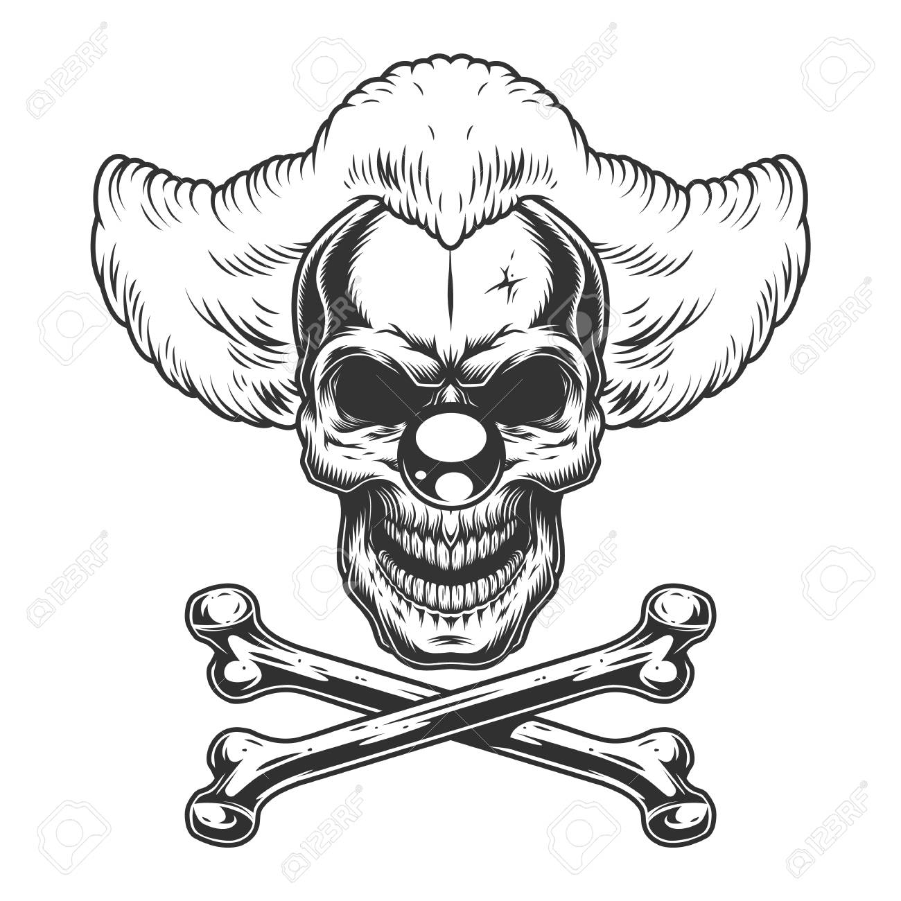 Vintage monochrome scary evil clown skull with crossbones isolated vector illustration - 116383491