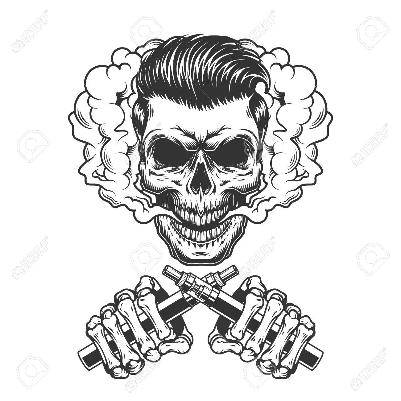 Vintage monochrome vaping concept with hipster skull in smoke