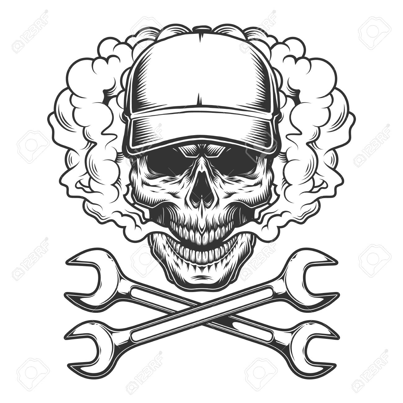 Vintage monochrome skull wearing baseball cap in smoke cloud with crossed wrenches isolated vector illustration - 116383813
