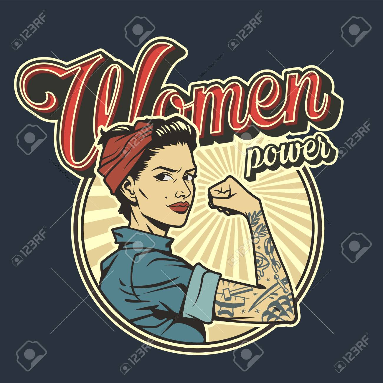 Vintage colorful woman power badge with beautiful strong girl in uniform with tattoo on arm isolated vector illustration - 121467107