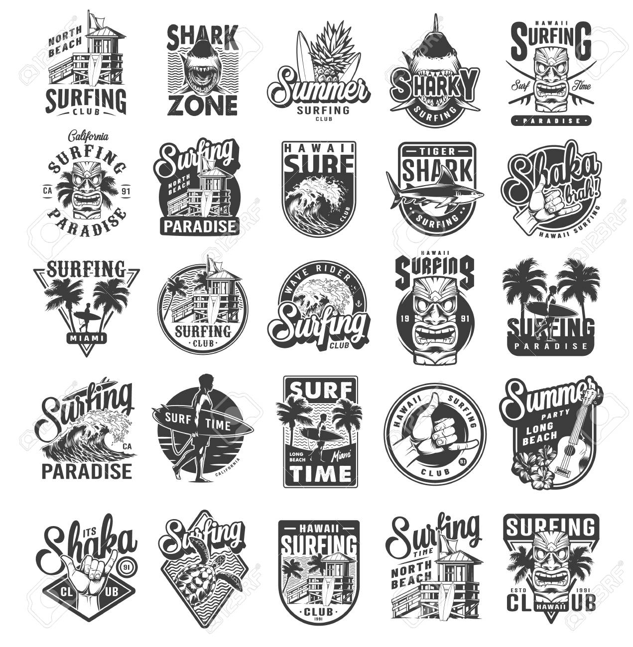 Vintage surfing sport labels with man holding surfboards sharks surfers house palms sea waves fruits ukulele hibiscus flowers travel van shaka hand sign turtle isolated vector illustration - 121467112