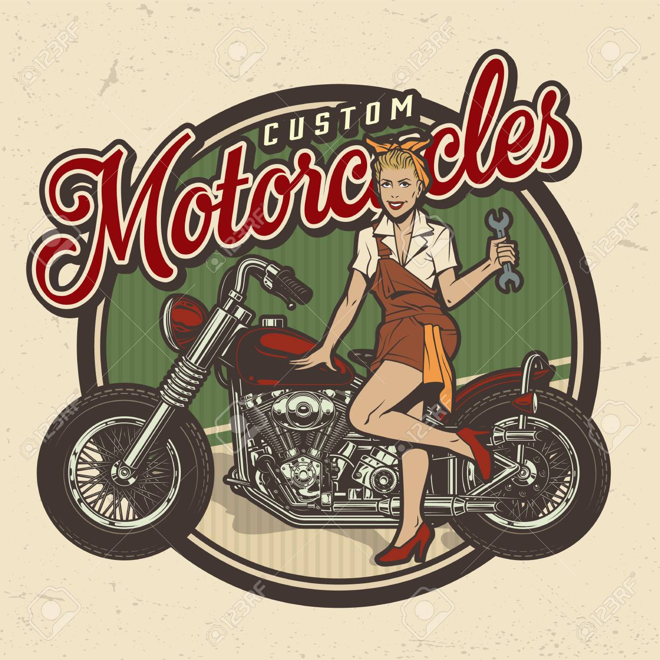 Vintage colorful motorcycle repair service logo with pin up pretty