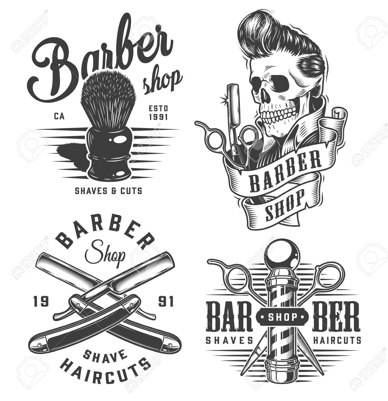 Vintage monochrome barbershop prints with shaving brush scissors barber pole razors skull with trendy hairstyle isolated vector illustration - 121467126