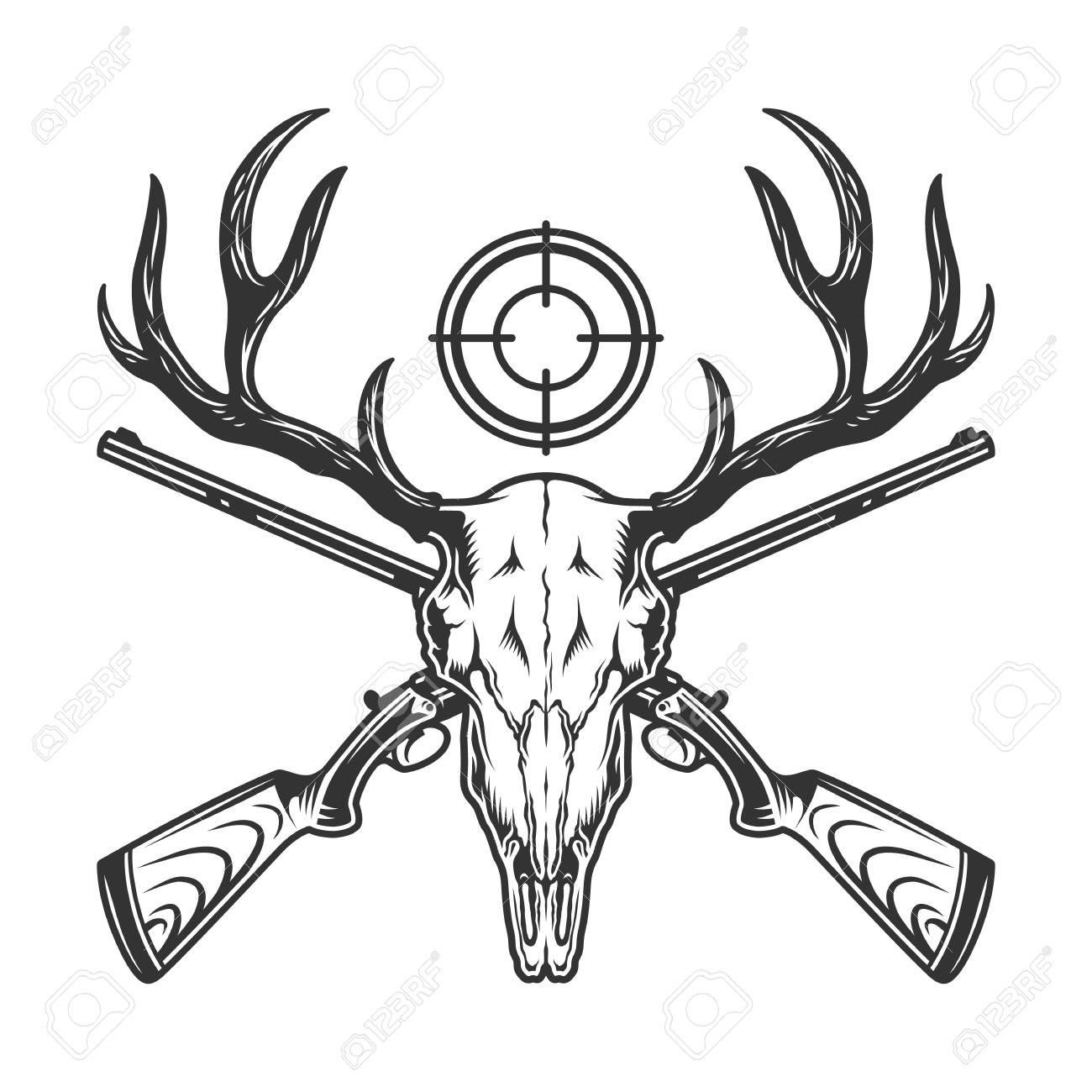 Vintage Monochrome Hunting Template With Deer Skull Crossed Guns
