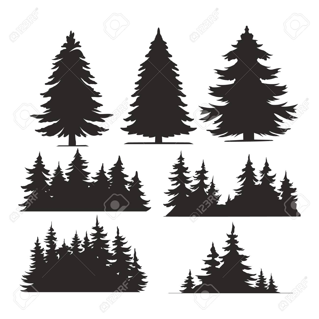 Vintage trees and forest silhouettes set in monochrome style isolated vector illustration - 122418633