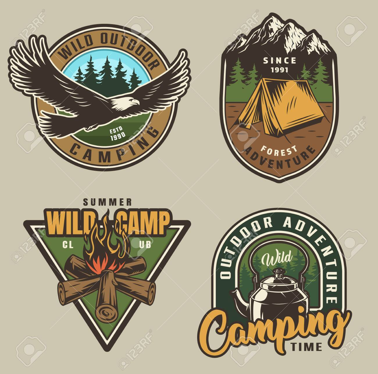 Colorful summer adventure labels with flying eagle tent campfire kettle in vintage style isolated vector illustration - 124540296