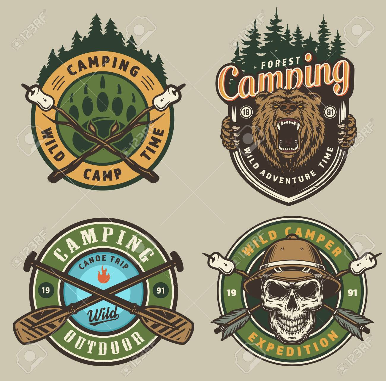 Colorful summer adventure vintage emblems with angry bear head
