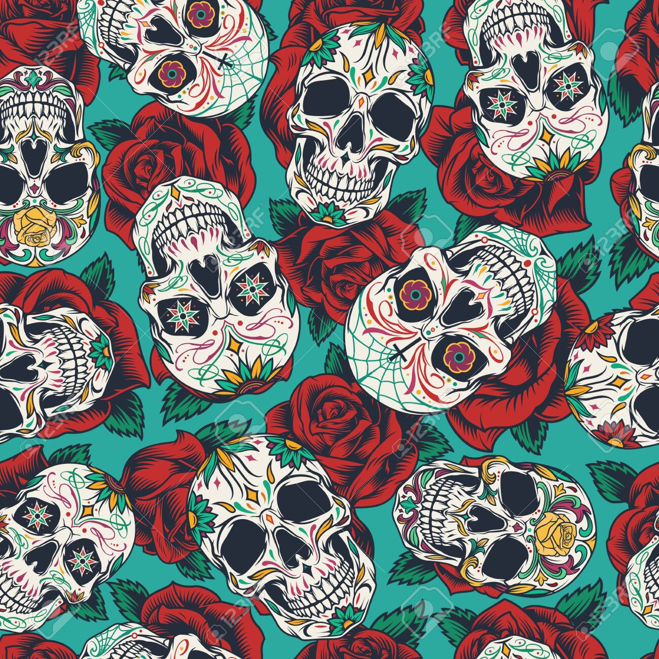 Mexican Day of Dead seamless pattern with colorful calaveras on rose flowers background in vintage style vector illustration - 128070164