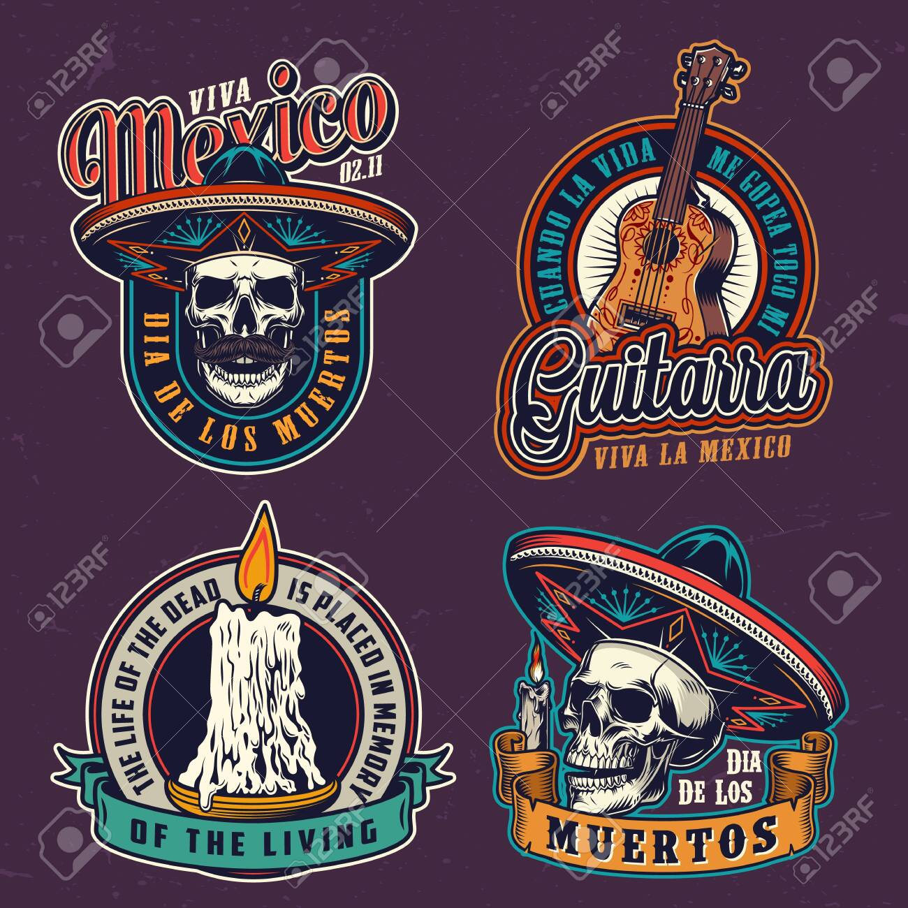 Dia De Los Muertos vintage labels with acoustic guitar skulls in sombrero hats and burning candles isolated vector illustration - 128591732