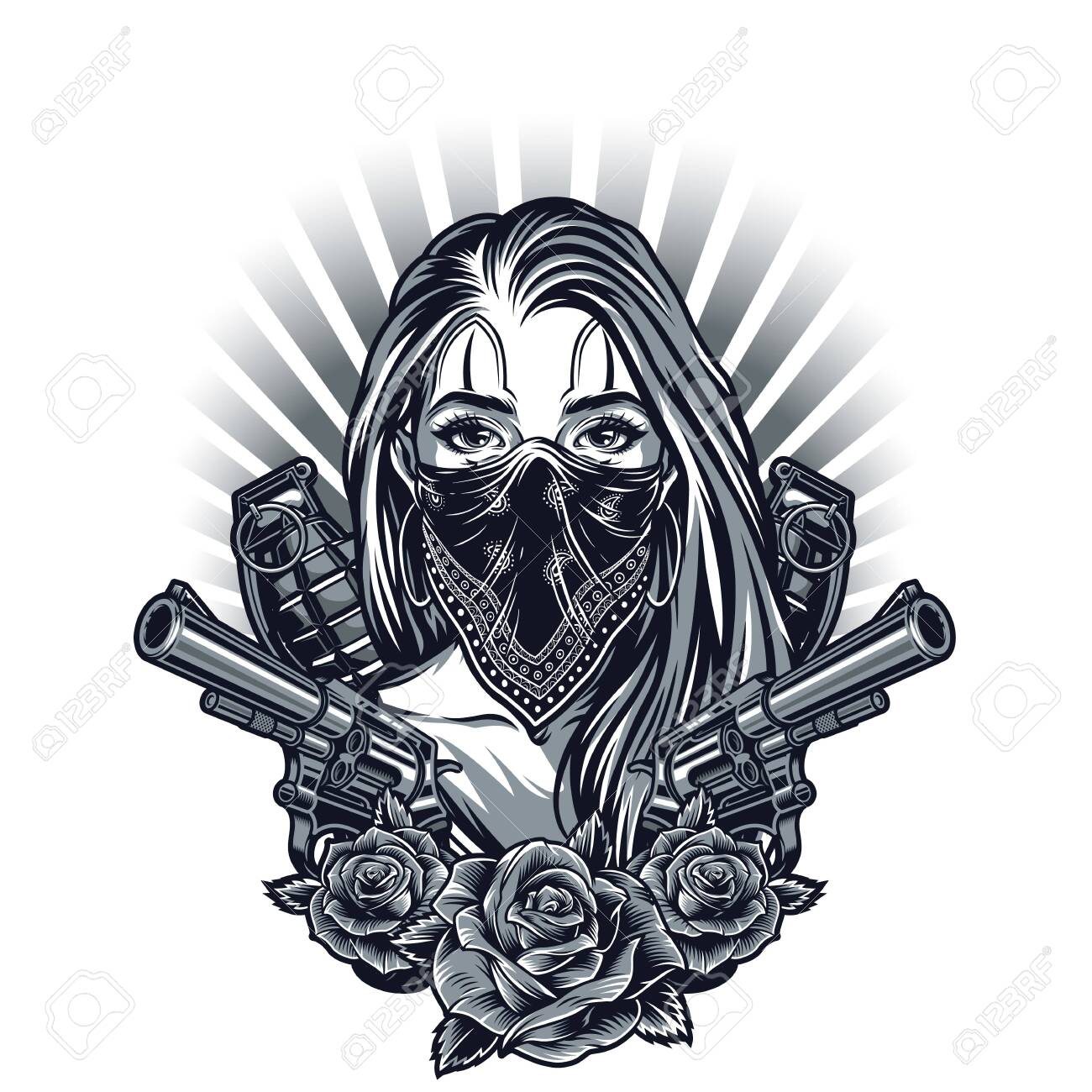 Vintage chicano tattoo concept with girl in bandana guns grenades and rose flowers isolated vector illustration - 131929646