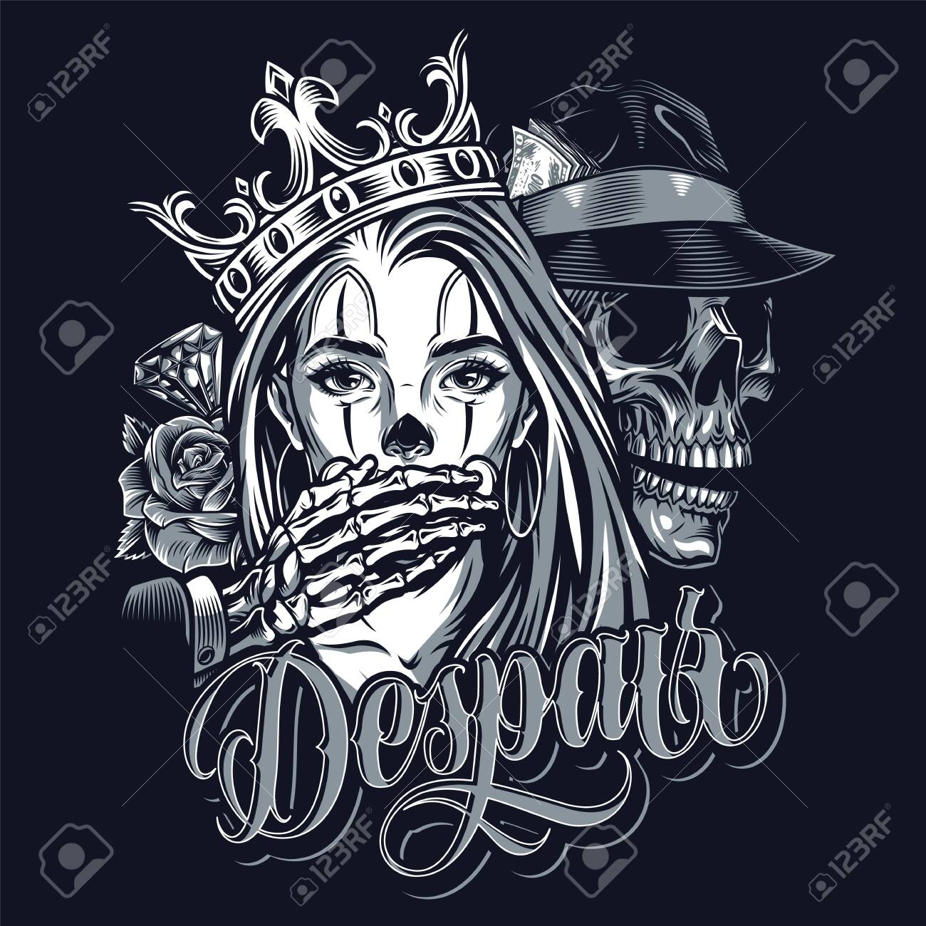 Vintage Chicano Style Tattoo Template With Diamond Roses Skeleton Royalty Free Cliparts Vectors And Stock Illustration Image 136450614