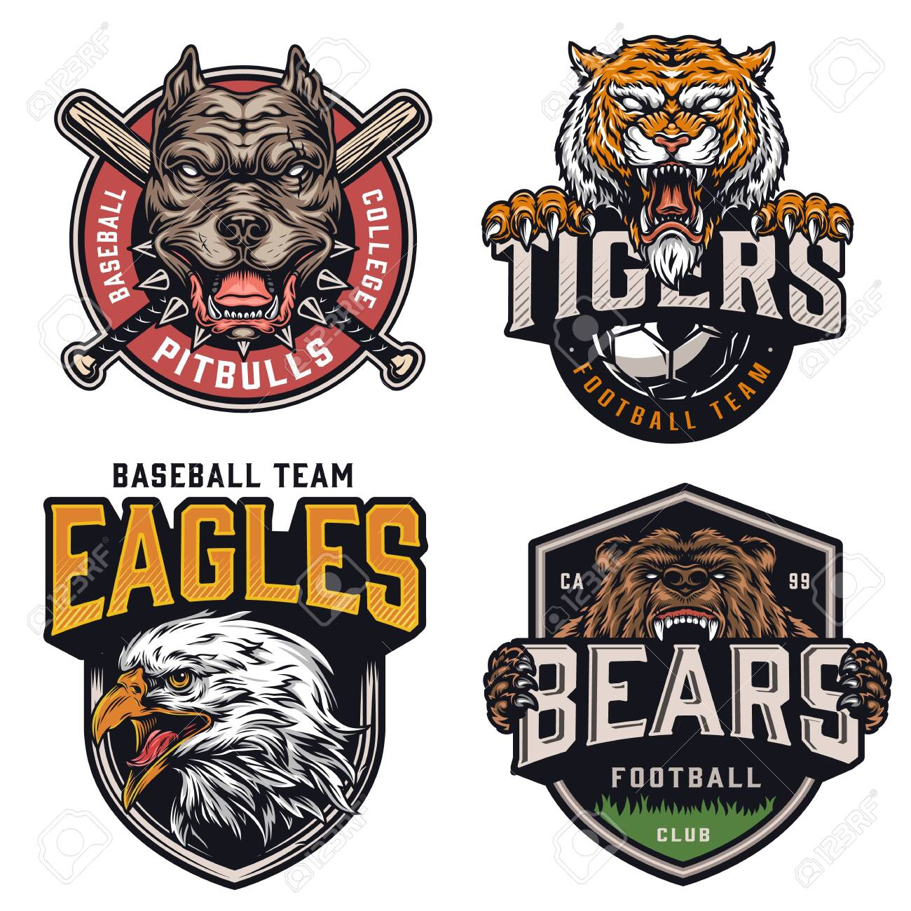 Sports teams vintage colorful logotypes with angry pitbull tiger eagle bear mascots crossed baseball clubs and soccer ball isolated vector illustration - 142605026