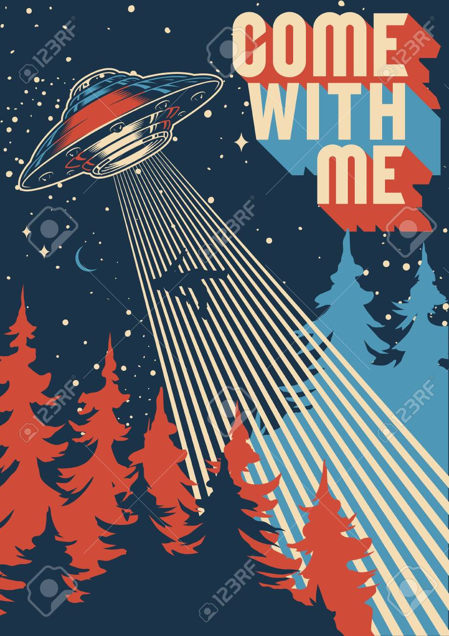 UFO abducts man colorful poster in vintage style vector illustration - 142771938