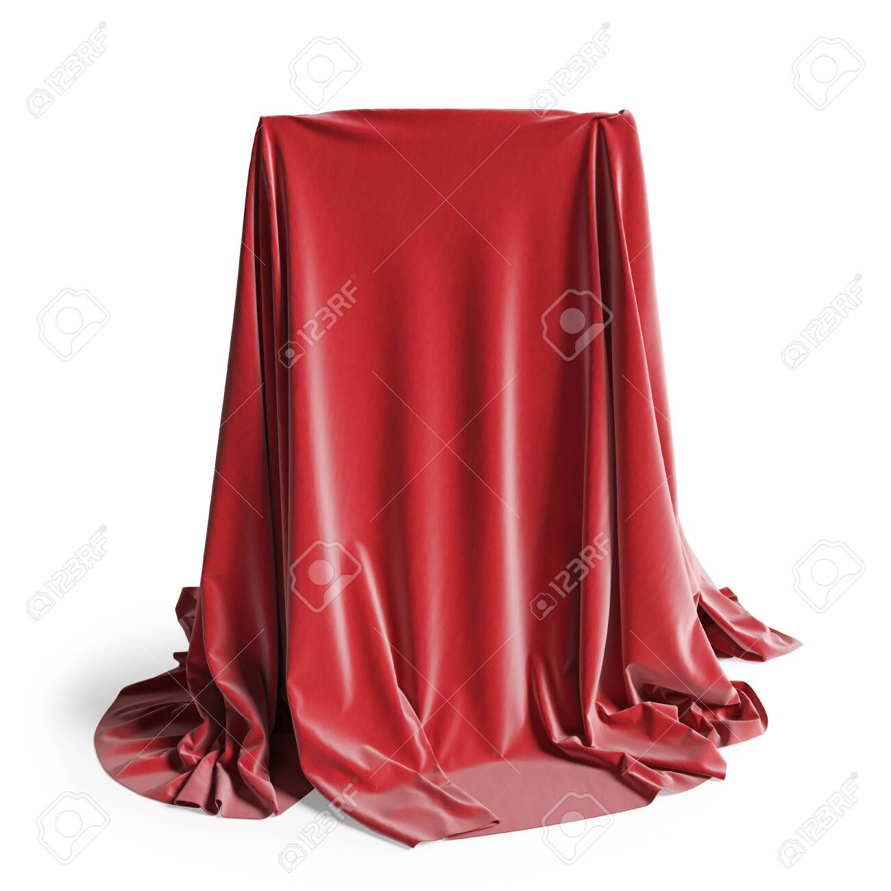 Empty podium covered with red silk cloth. Isolated on a white background with clipping path. 3d illustration - 139559890