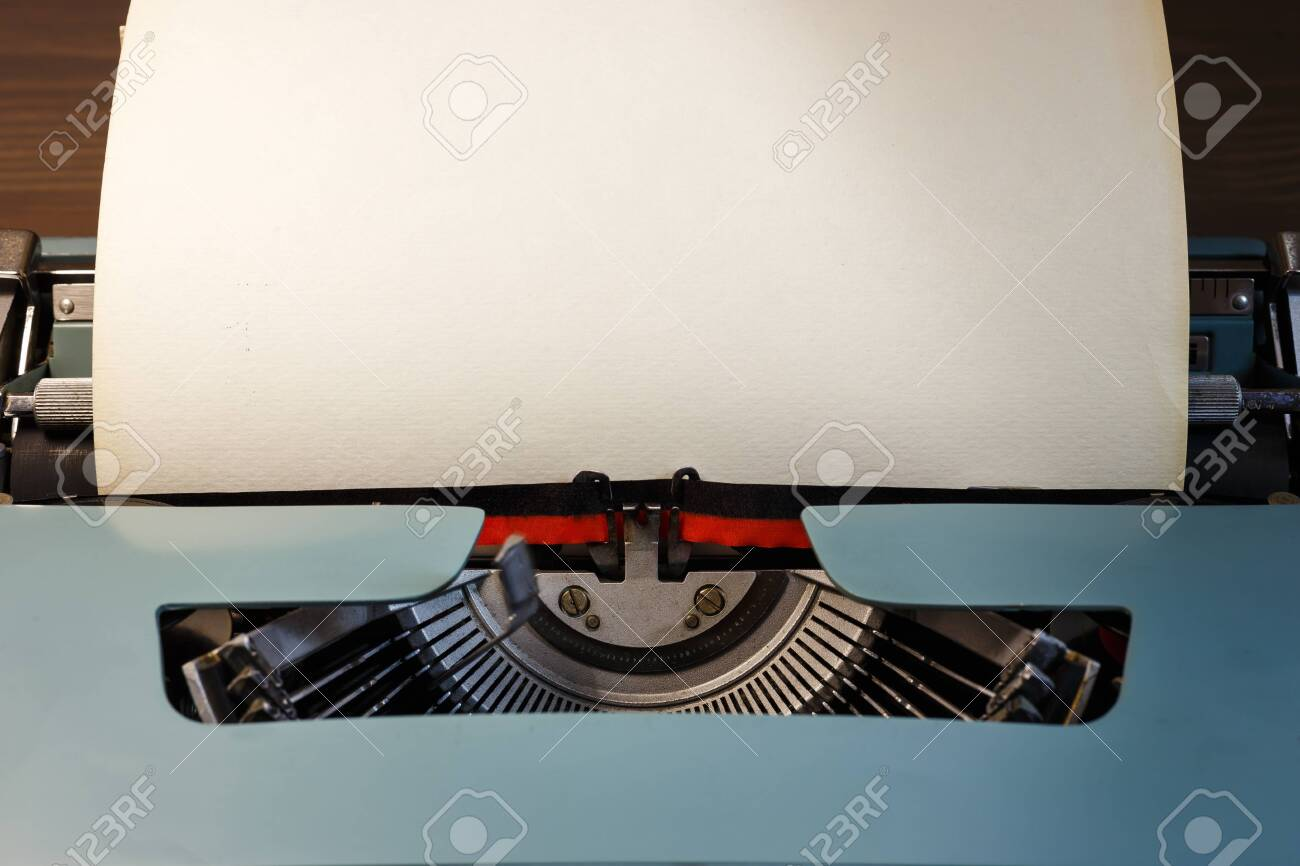 Vintage typewriter with blank paper. Space for text. The concept on literature, historical, education. - 139455917