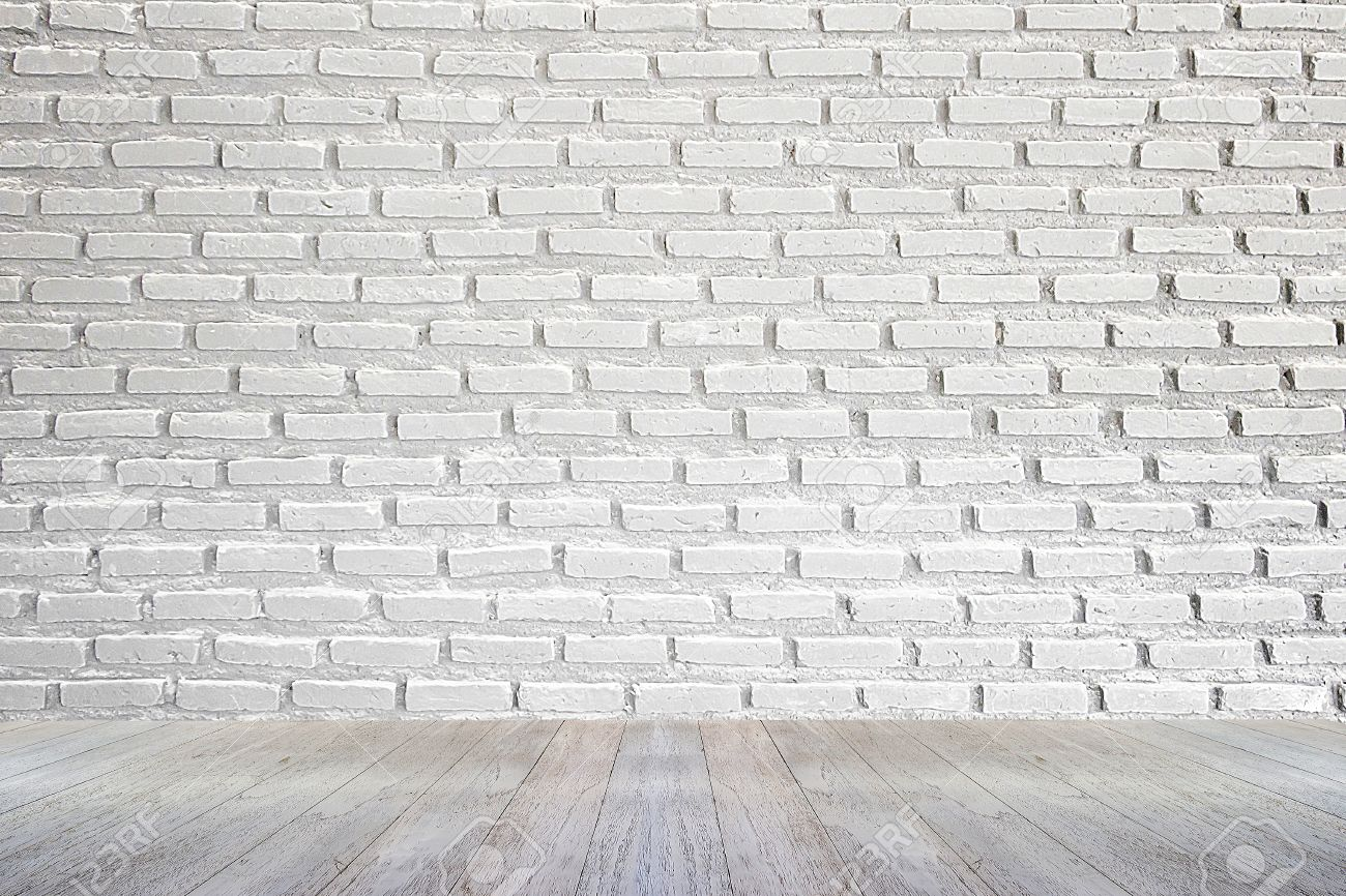 white brick wall and wood floor background - 47039515